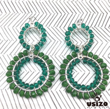 Load image into Gallery viewer, Usizo Double Crystal Circle earrings - Emerald/Aqua Translucent