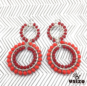 Usizo Double Crystal Circle Earrings - Tomato/Scarlet