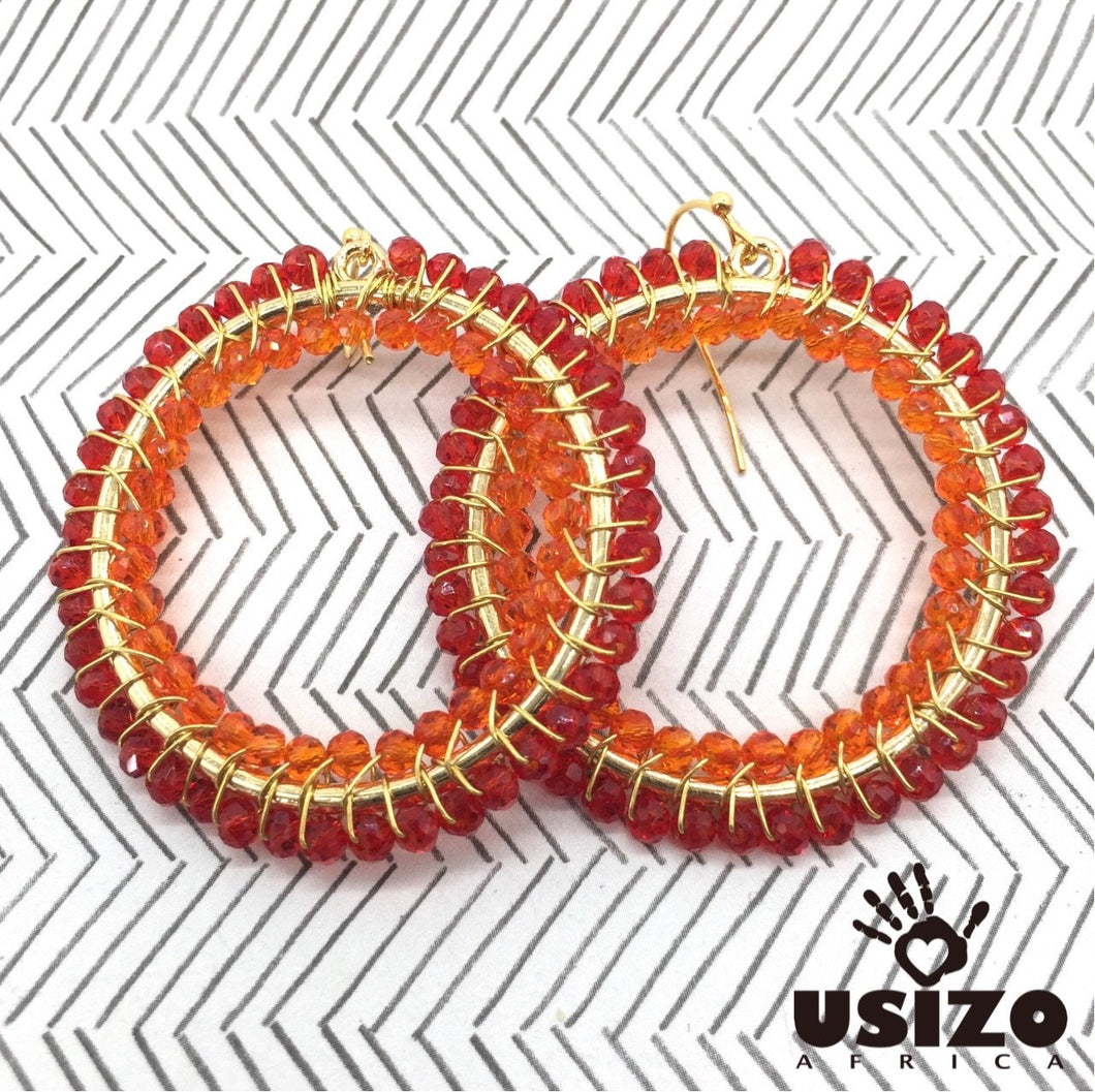 Usizo Big O Earrings - Red/Orange
