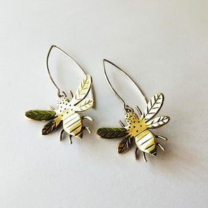 Miss H Bumble Bee Dangly Earrings - Brass