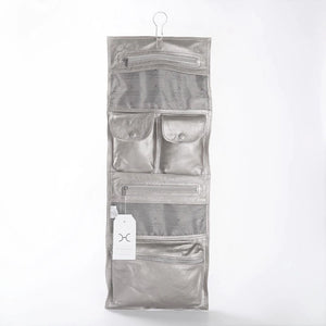 Thandana roll up toiletry bag silver leather