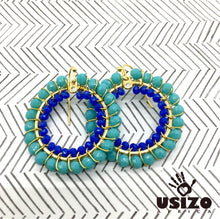Load image into Gallery viewer, Usizo Crystal Circle Earrings - Aqua/Blue
