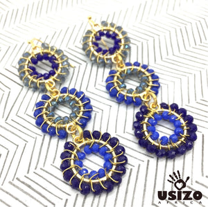 Usizo Baby Trio Earrings - Dark Blues