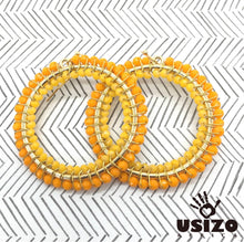 Load image into Gallery viewer, Usizo Big O Earrings - Yellow Sunshine