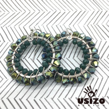 Load image into Gallery viewer, Usizo Crystal Circle Earrings - Metallic Green Bicone