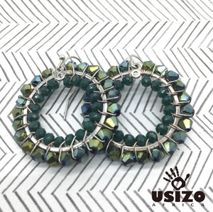 Usizo Crystal Circle Earrings - Metallic Green Bicone