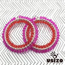 Load image into Gallery viewer, Usizo Big O Earrings - Pink/Red