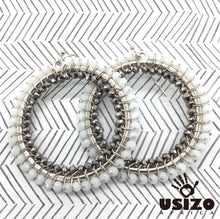 Load image into Gallery viewer, Usizo Big O Earrings - White/Metallic
