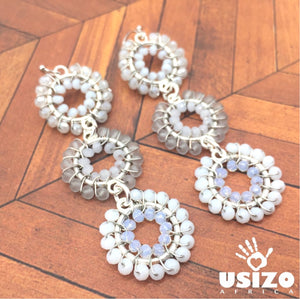 Usizo Baby Trio Earrings - Whites
