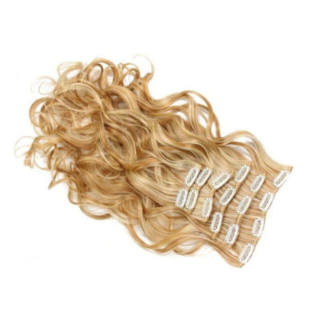Extension cheveux blond doré à clip synthétique