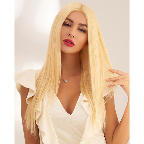 Longue Perruque Naturelle Blond Platine