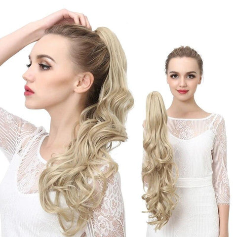 ponytail blond cheveux synthétiques