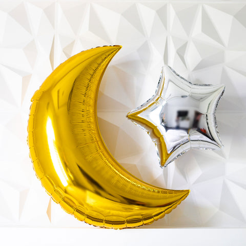 Giant Metallic Crescent/Star Balloon Party Pack
