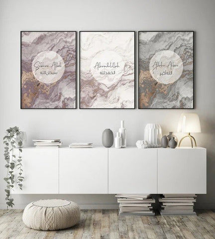 Tasbih In Marble Design Poster Set (3 Prints)