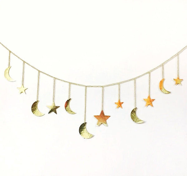 Gold Moon & Star Garland