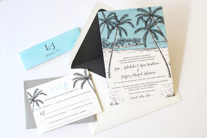 Lissa and Jeff wedding invite suite: Old Hawaiiana meets Modern Luxe