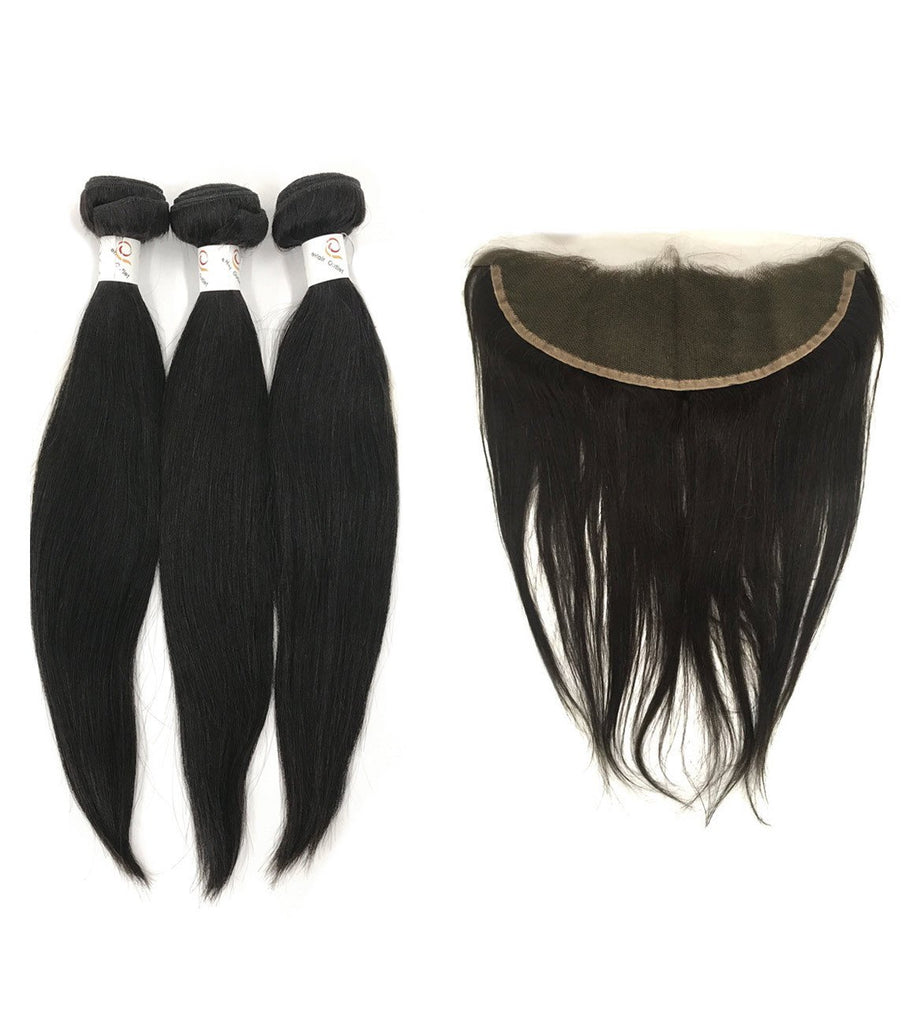 "5A Brazilian 3 Bundle Set Straight w/ 13""X4"" Lace Frontal"