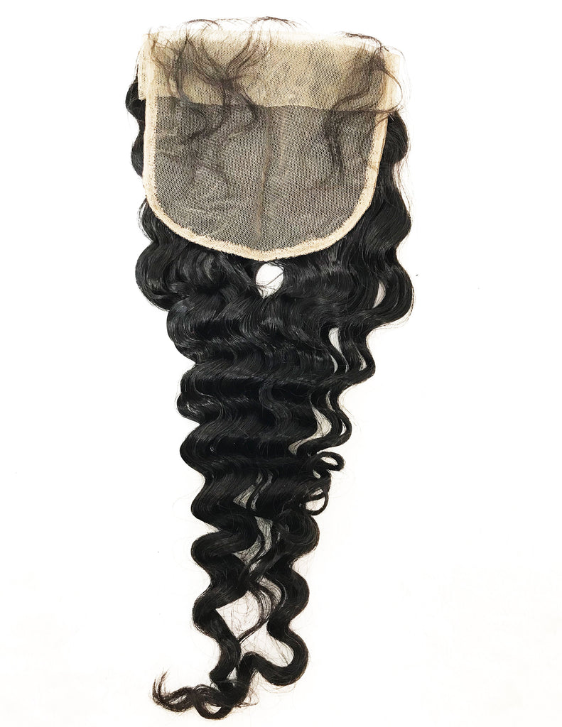 "VIRGIN DEEP WAVE LACE CLOSURE 5""X5"" - eHair Outlet"
