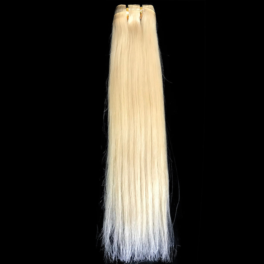 9A Malaysian Straight Human Hair Extension Platinum Blonde