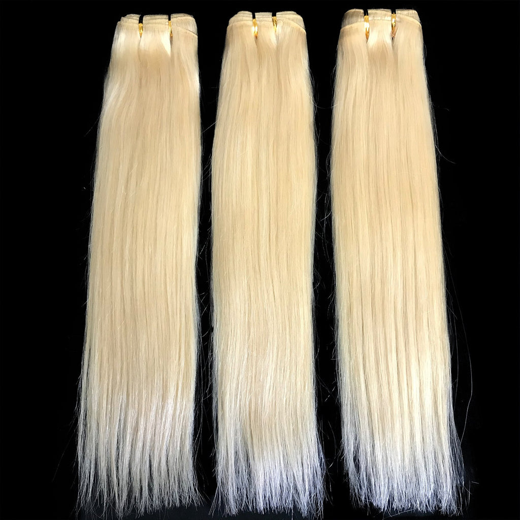 9A Malaysian Platinum Blonde  3 Bundle Set Straight Virgin Human Hair Extension - eHair Outlet