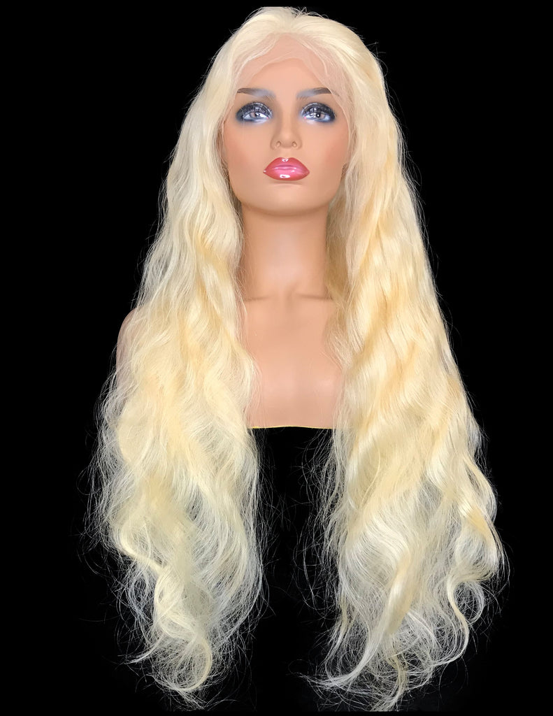 9A Grade Wavy Swiss Full Lace Human Hair Wig  #613 - eHair Outlet