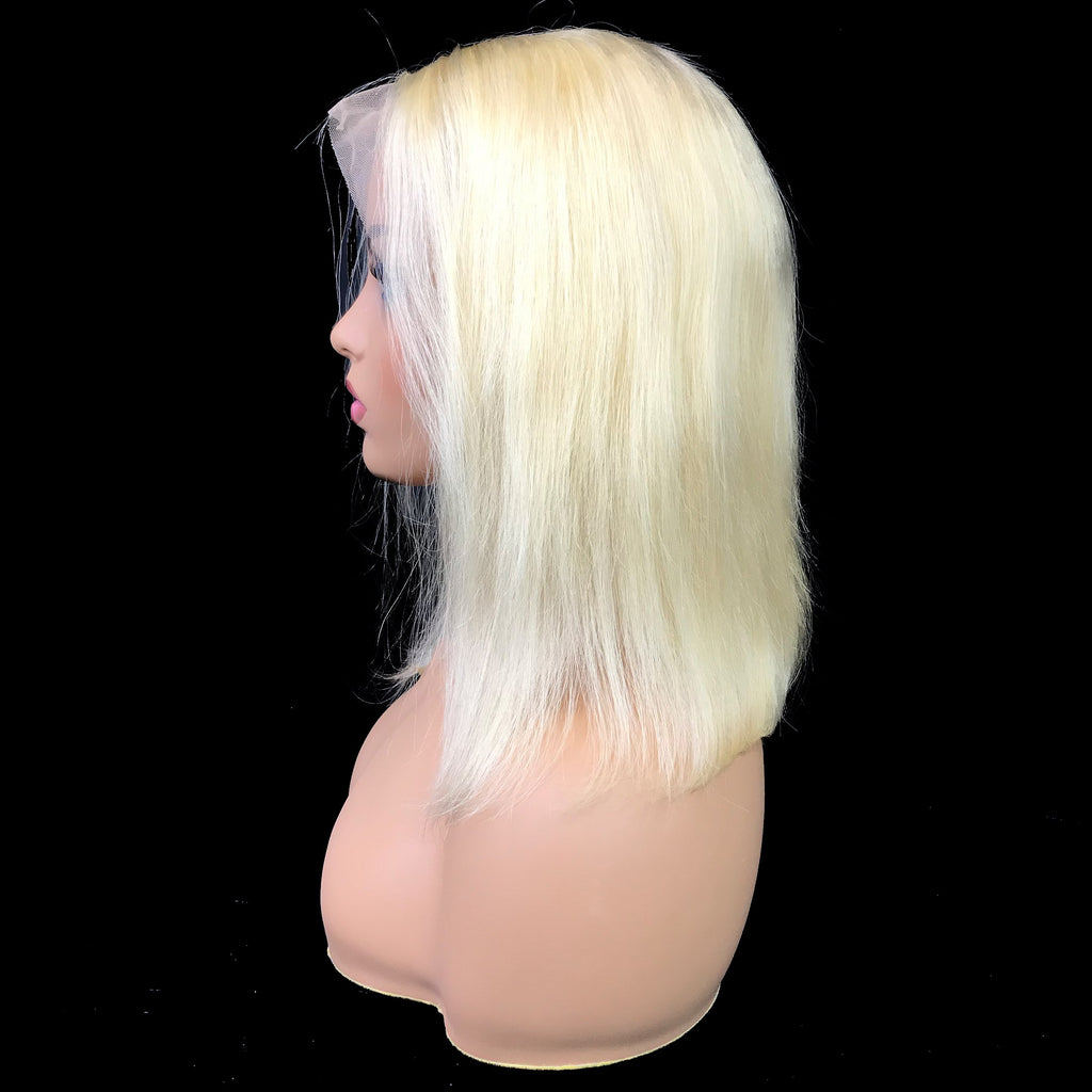 "Remy Straight  13""X 4""Lace Frontal Bob Wig  Blonde #613"