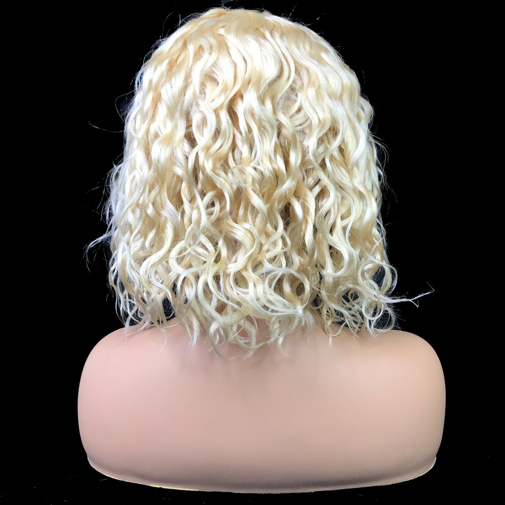 "Remy Water Wave  13""X 4""Lace Frontal Bob Wig  Blonde #613"
