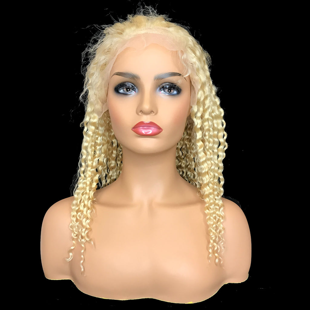"Remy Jerry Curl 13""X 4""Lace Frontal Bob Wig  Blonde #613"