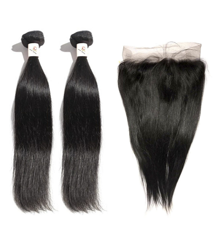8A Malaysian 2 Bundle Straight Virgin Human Hair w/ 360 Lace Frontal - eHair Outlet