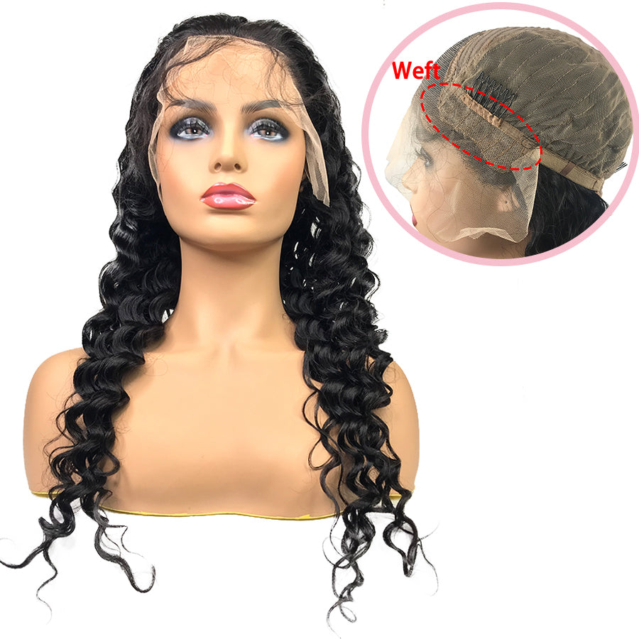 HD 8A Malaysian Deep Wave Lace Frontal Human Hair Wig(With Weft)
