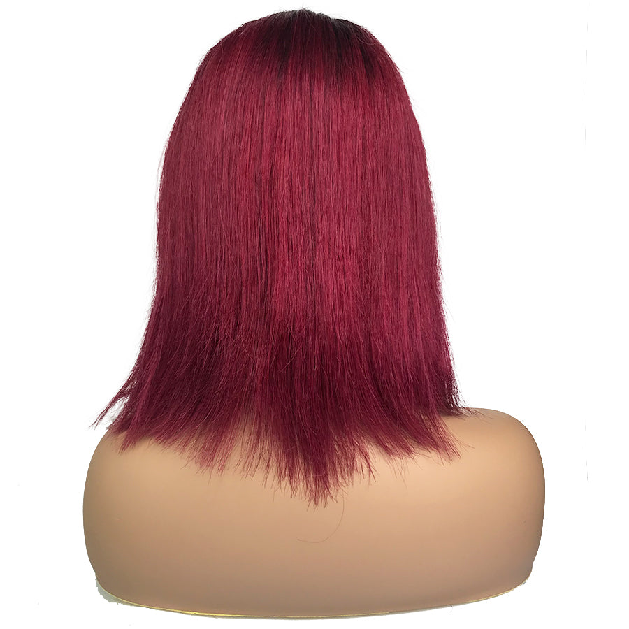 "Remy Straight 13""X 6""Lace Frontal Bob Wig 1B/Burgundy"