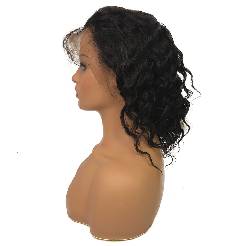 "Remy Loose Wave 13""X 4""Lace Frontal Bob Wig  Natural"
