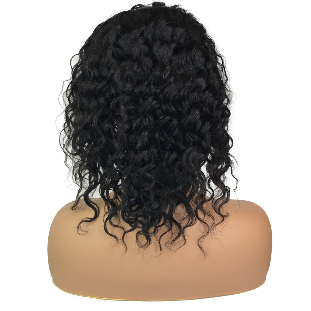 "Remy Deep Wave 13""X 4""Lace Frontal Bob Wig  Natural"