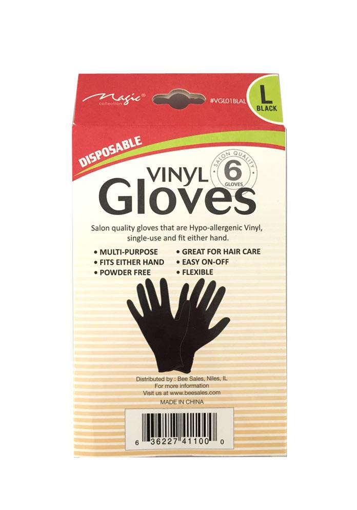 Solan Style Multi Purpose Disposable Black Vinyl Gloves Pack of 6 - eHair Outlet