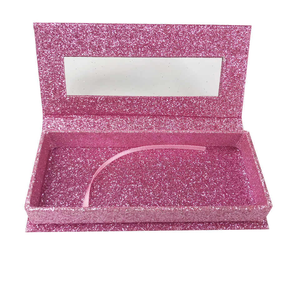 Glitter Pink Empty Eyelash Box Gift Box Full Window / Small &Big