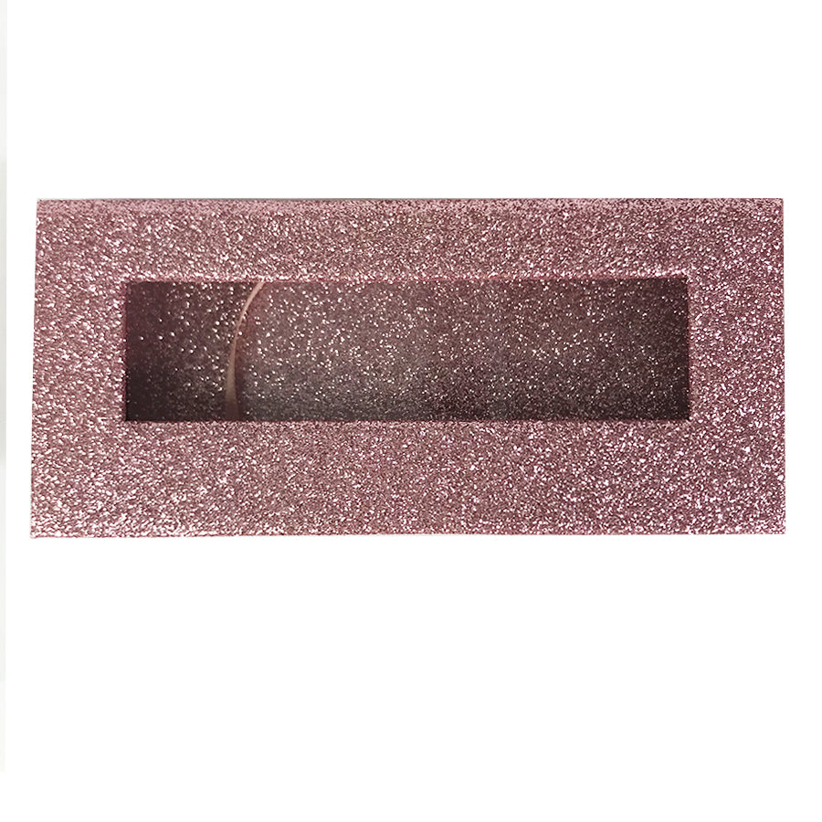 Glitter Light Pink Empty Eyelash Box Gift Box Full Window / Small &Big