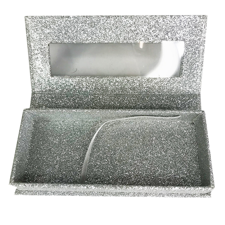 Glitter Silver Empty Eyelash Box Gift Box Full Window / Small &Big