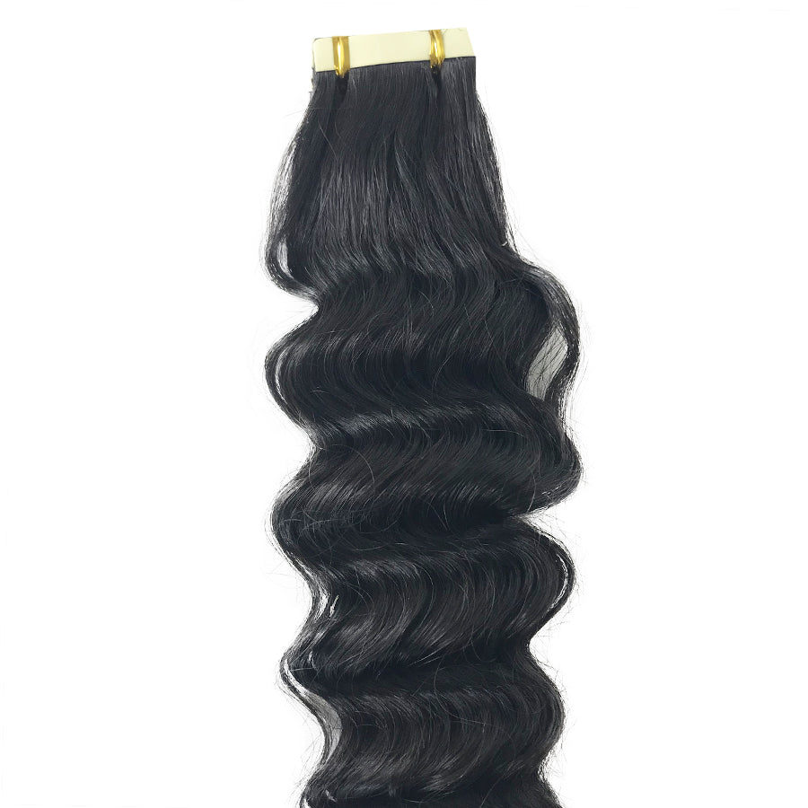 10A Deep Wave Tape-In Human Hair Extension Natural