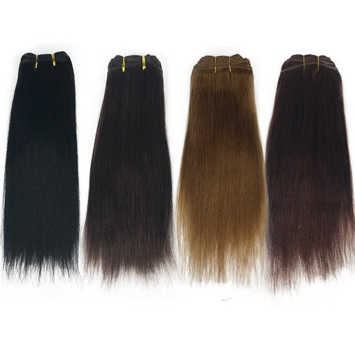 "5A 10"" Yaki Straight Human Hair Extension Color #1/#1B/#27/#33"