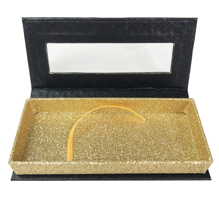 Black and Glitter Gold Empty Eyelash Box Small Gift Box Full Window