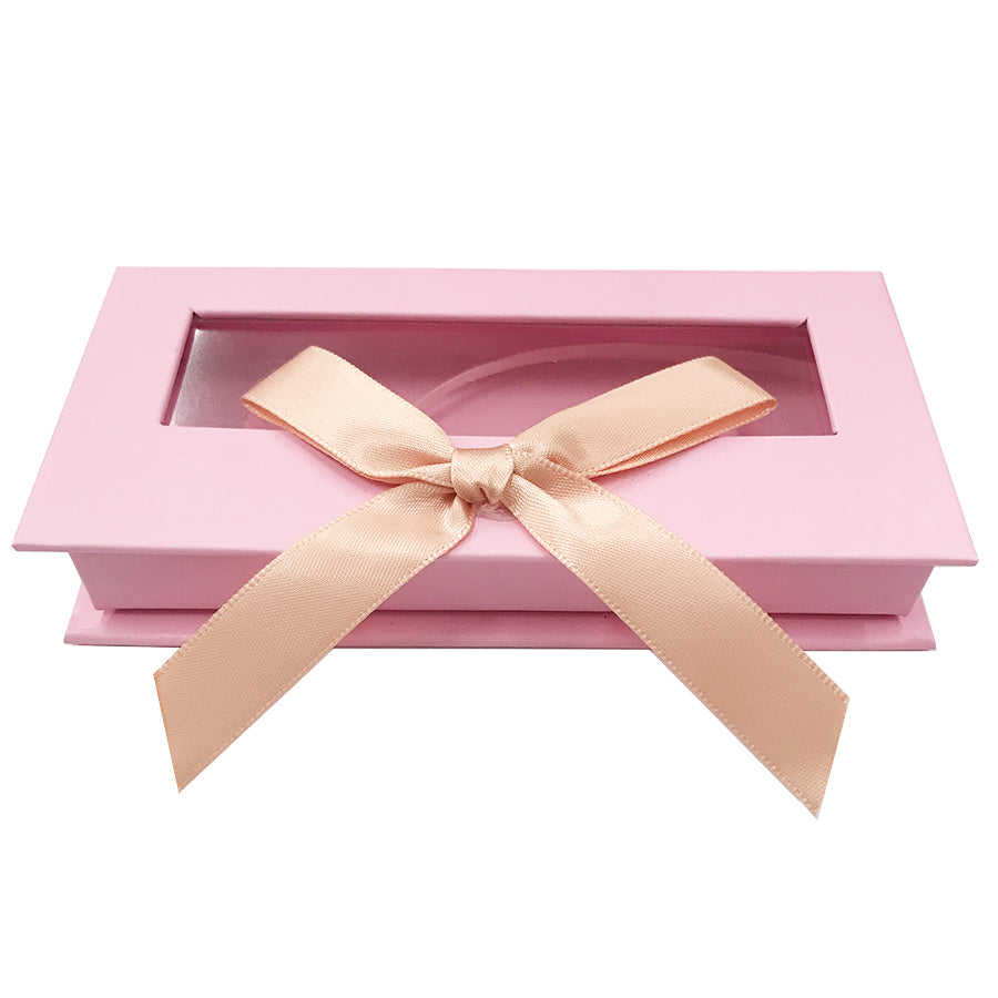 Pink Bowknot Empty Eyelash Box Gift Box Full Window Big