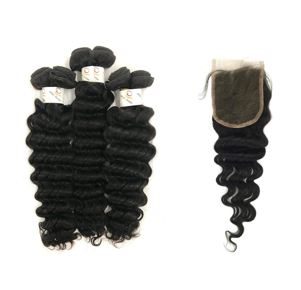 "8A Malaysian 3 Bundle Set Deep Wave w/ 4""X4"" Virgin Lace Closure"