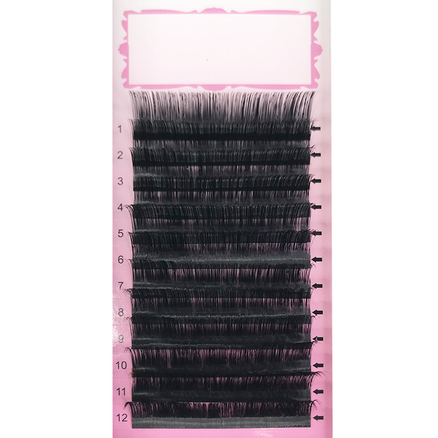 Thickness 0.10 B/C/CC/D Curl  Handmade Soft Natural  Eyelash Extensions Individual Lashes Tray (12 Lines)