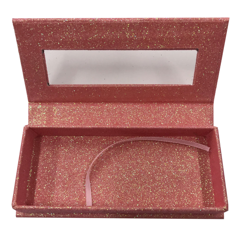 Glitter Orange Empty Eyelash Box Small Gift Box - eHair Outlet