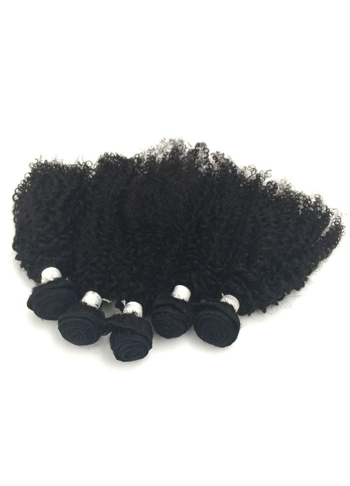 6pc 8A Malaysian Jerry Curl Human Hair Extension Bundle Pack w/ Closure - eHair Outlet