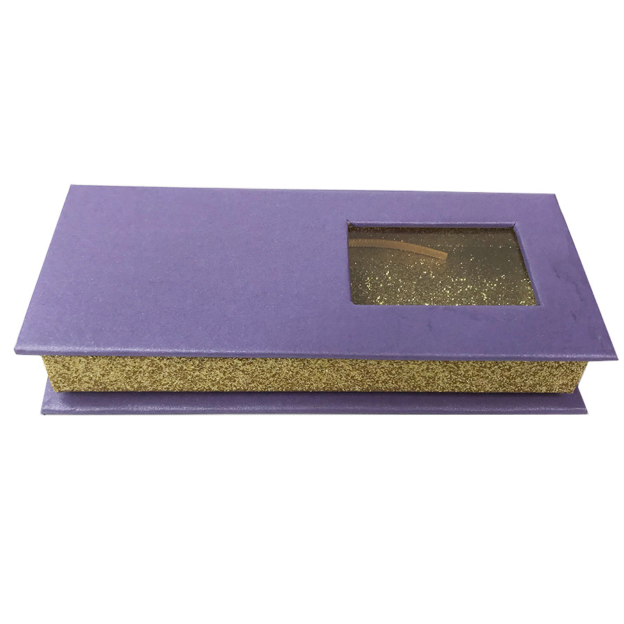 Purple and Glitter Gold Empty Eyelash Box Small Gift Box One Window