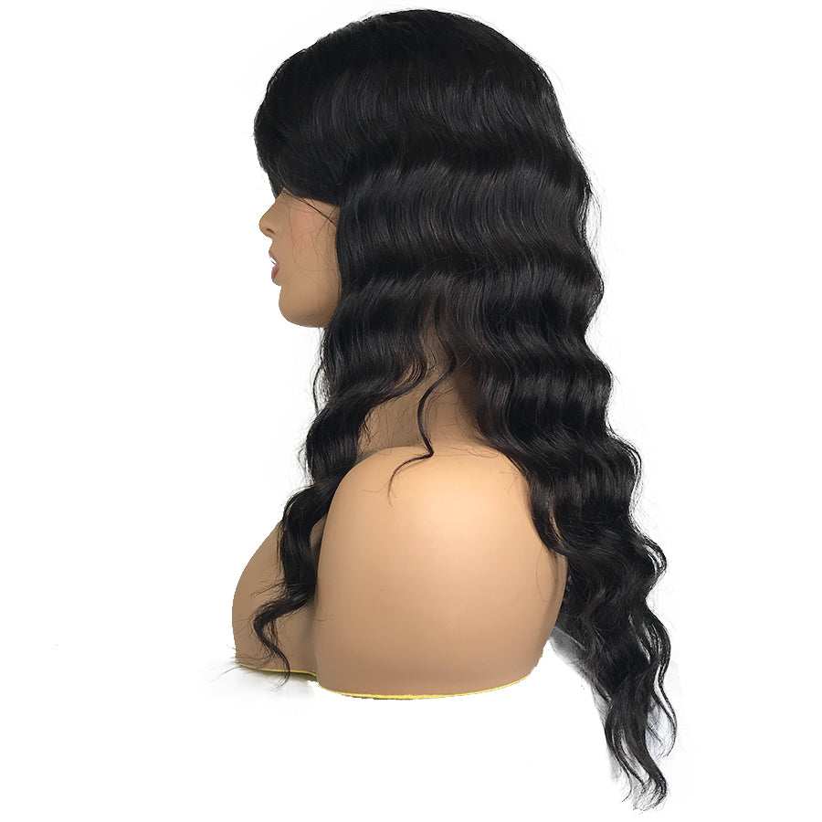 Virgin Silk Top Human Hair Wig With Bang 18""