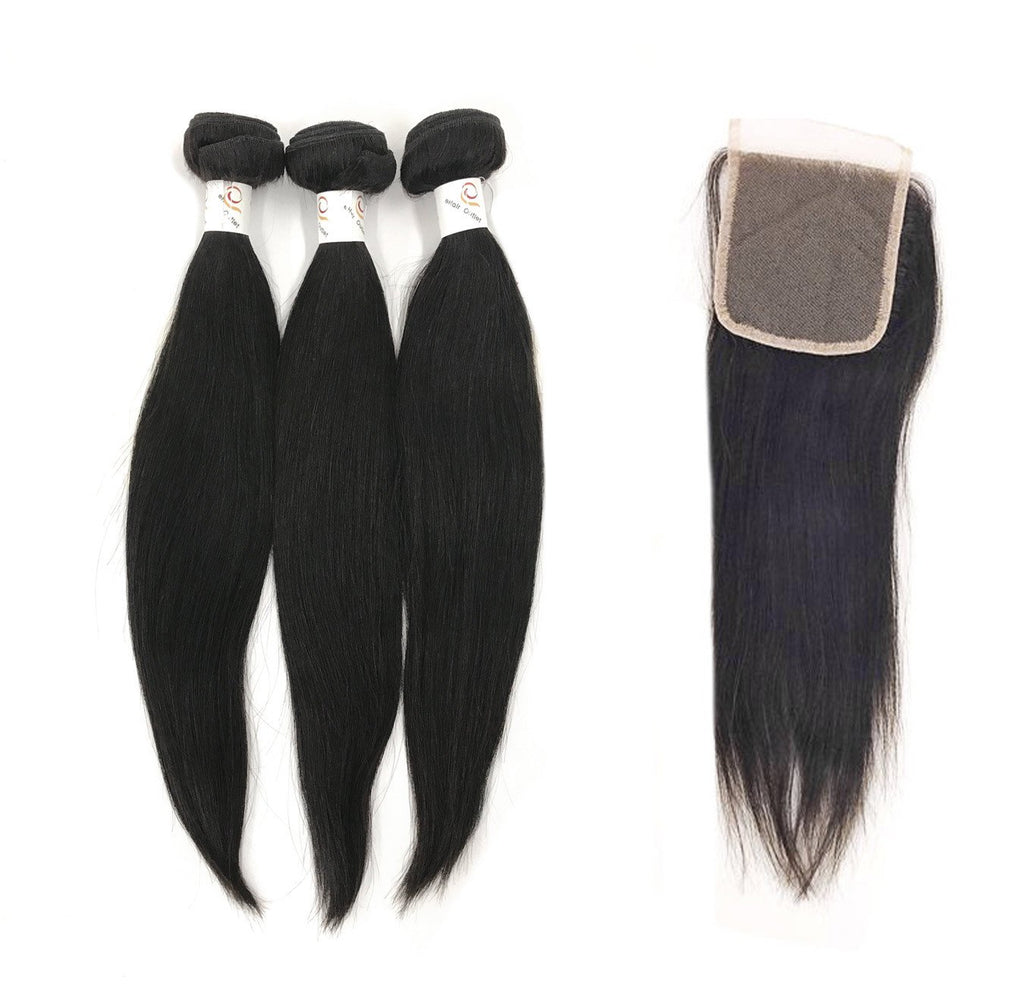 "8A Malaysian 3 Bundle Set Straight w/ 4""X4"" Lace Closure"