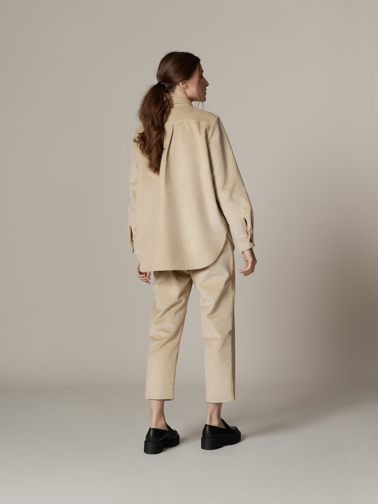 Simple beige corduroy outfit