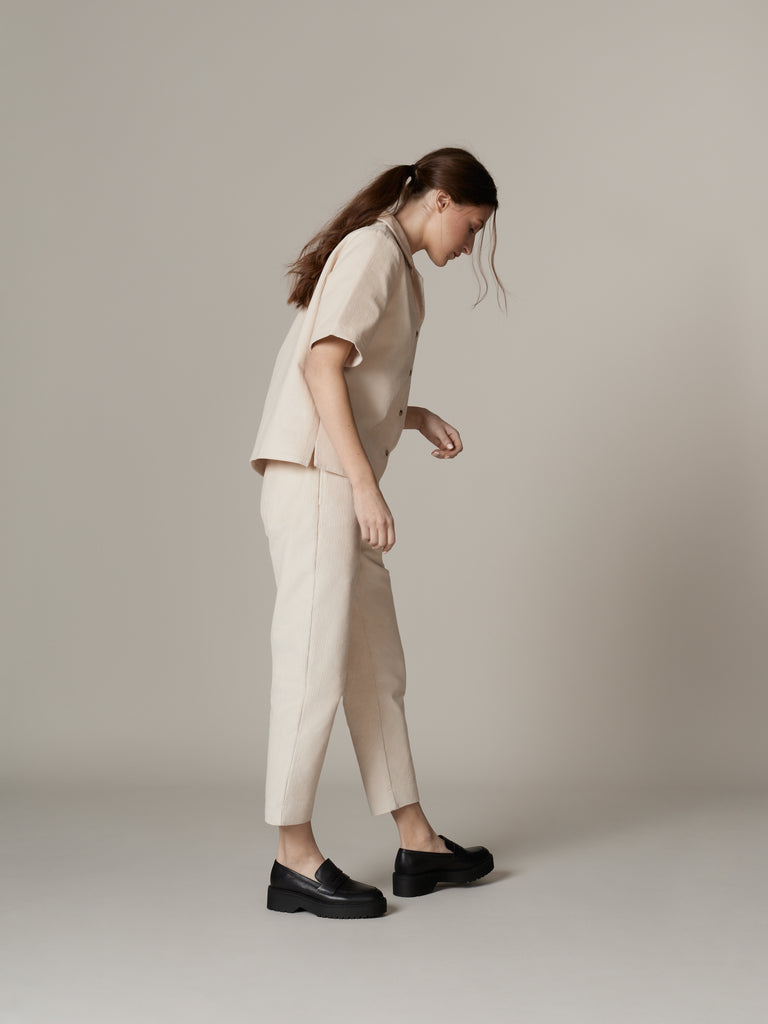 Simple white corduroy outfit